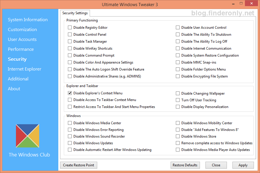 Ultimate Windows Tweaker 3 Windows 8/ 8.1