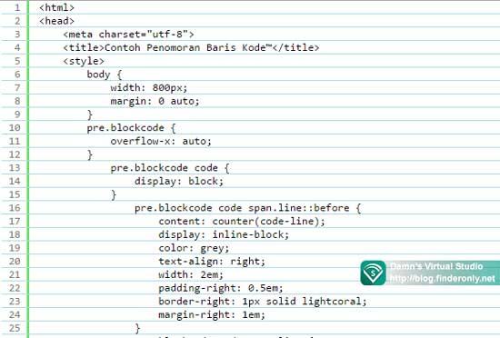 Script Membuat Penomoran Baris Kode Secara Otomatis
