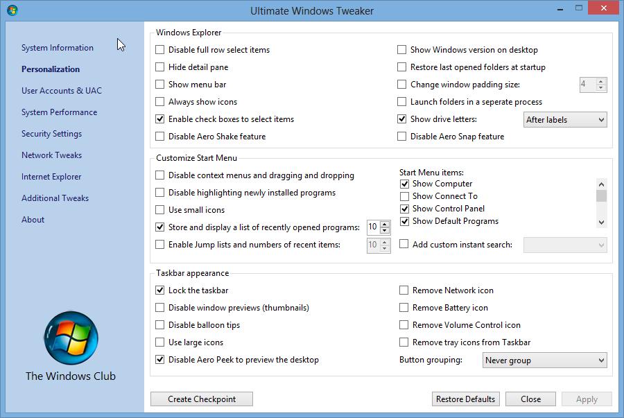 UWT aplikasi tweak UI untuk Windows 7, 8 & Vista