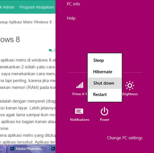 3 Cara Mematikan Windows 8 (Shutdown/Restart) Benar dan Cepat