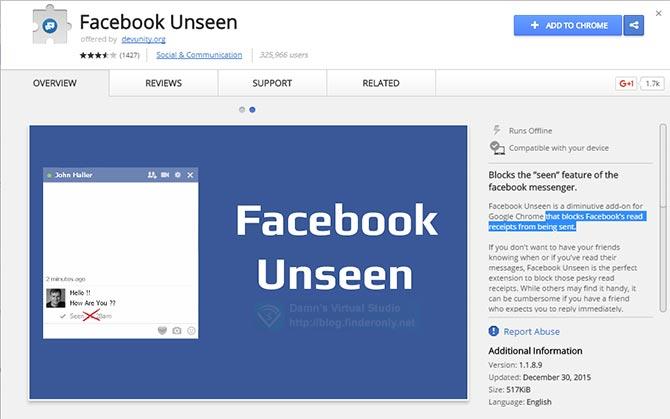 Cara Menyembunyikan Seen / Dibaca Inbox Facebook pada Chrome