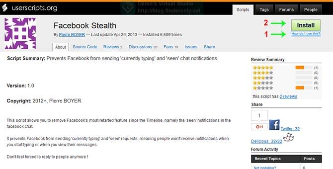 Sembunyikan Last Seen Chat Facebook di Firefox pakai Facebook Stealth