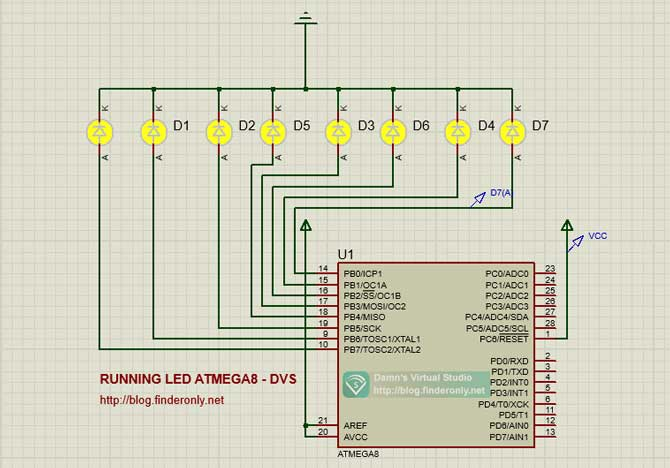 Skema Animasi Running Led Atmega8