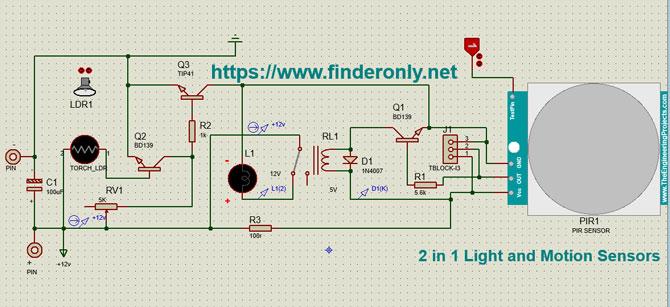 Skema Rangkaian Sensor Cahaya dan Gerak PIR 2 in 1