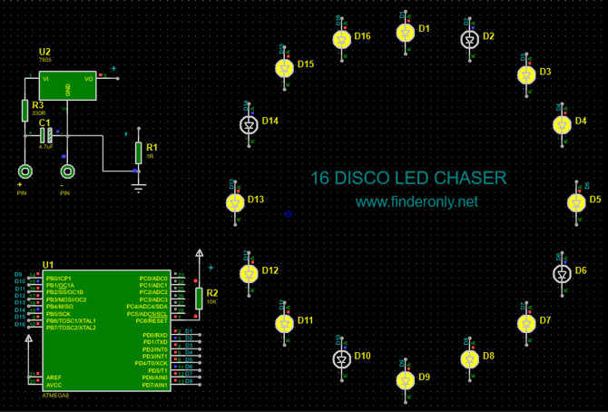 Skema Rangkaian Disco Led Chaser 16 Channel