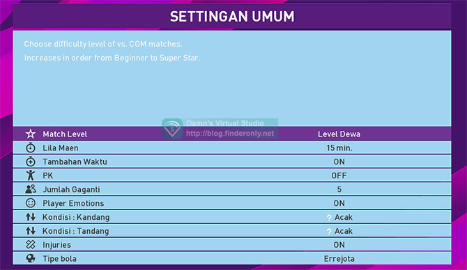 Konami PES Basa Sunda Menu Settingan Game