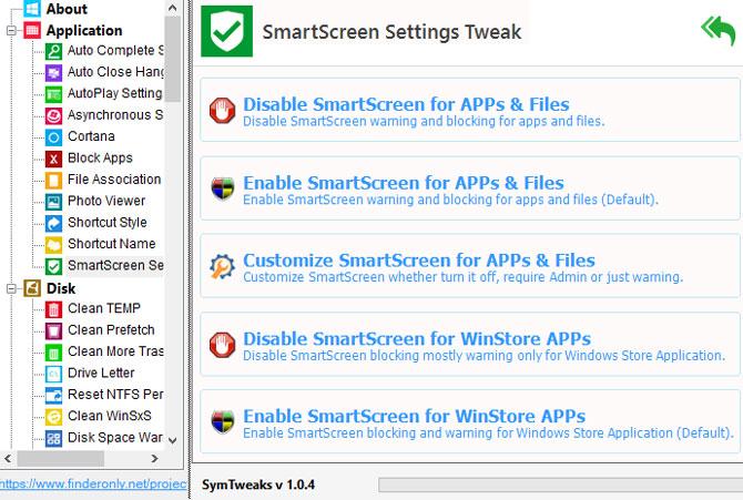 Pengaturan Smartscreen Filter dengan SymTweaks