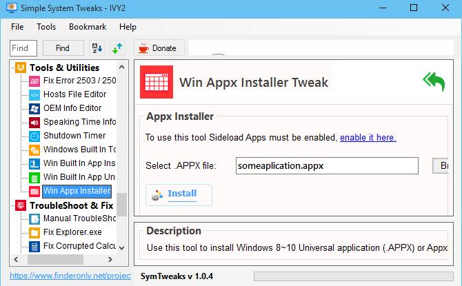 Instal Appx / AppxBundle dengan SymTweaks