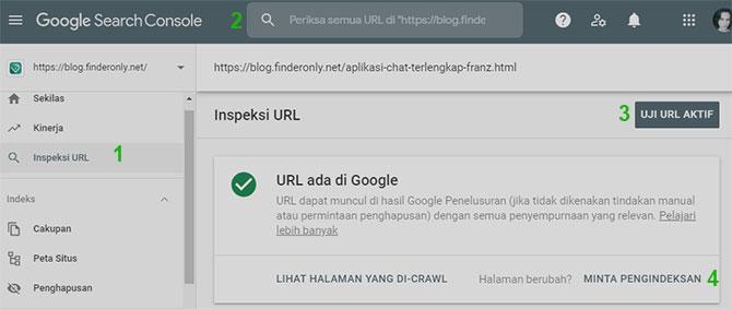 Cara Gunakan Inspeksi URL Google Manual