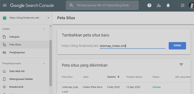 Kirim Sitemap untuk Perbaiki Google SEO