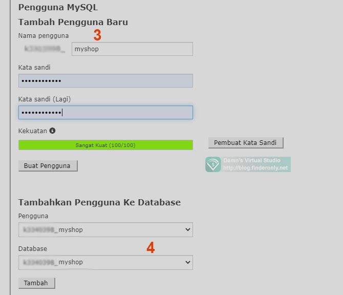 Tambah User MySQL Database di CPanel