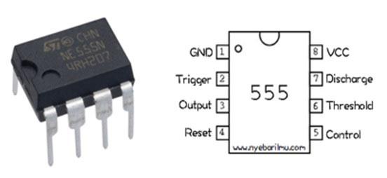 Pin out IC NE555 dan fungsinya